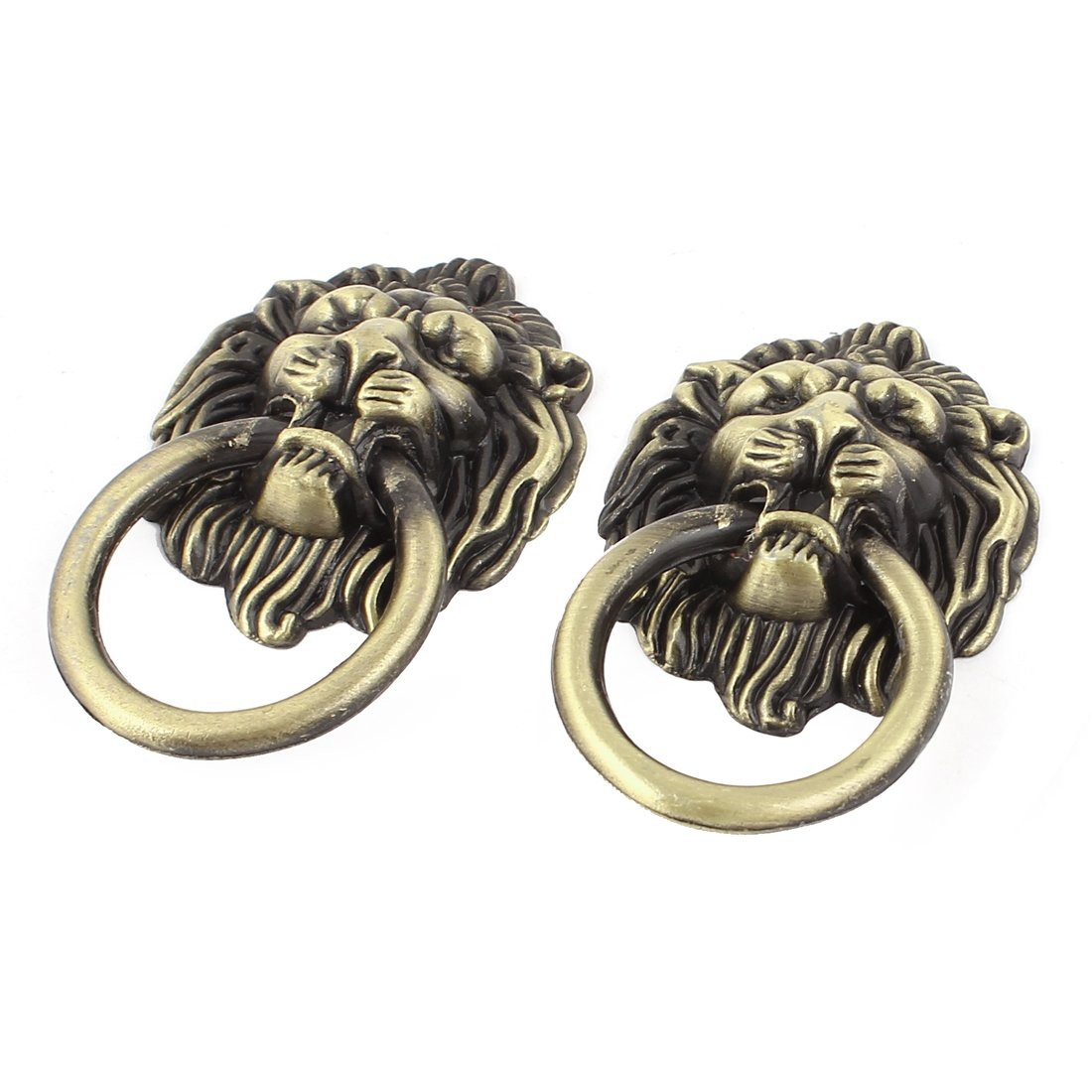 uxcell Antique Style Lion Head Design Drawer Ring Pull Handle Knob 2pcs a15072400ux1141