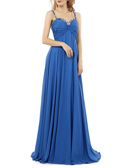 Baijinbai Womens Long Crystal Chiffon Bridesmaid Prom Dresses Evning Cocktail Gowns Blue UK06