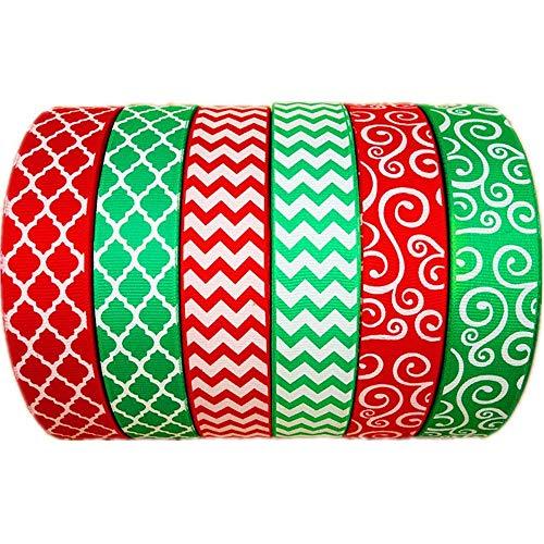 30 Yards(6 X 5yds)/Roll Christmas White Chevron Swirl Quatrefoil Printed Green Red 1