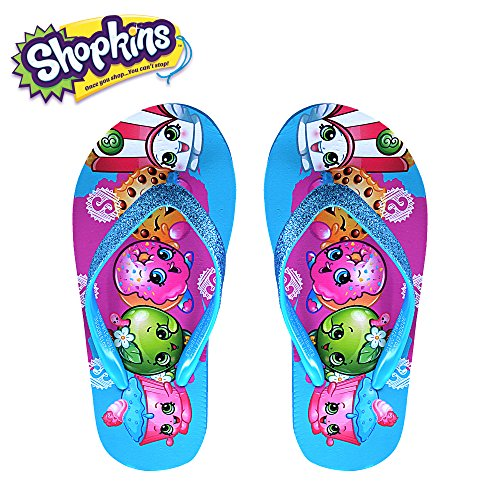 Beaded Strap Flip Flop (Shopkins Girls Flip Flops with Sparkling Jelly Straps in Turquoise, Size 2/3)