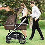 MD Group Baby Stroller 2-In-1 Foldable Aluminum Alloy Coffee Color Oxford Switchable Kids Travel