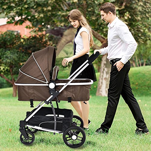 MD Group Baby Stroller 2-In-1 Foldable Aluminum Alloy Coffee Color Oxford Switchable Kids Travel by MD Group