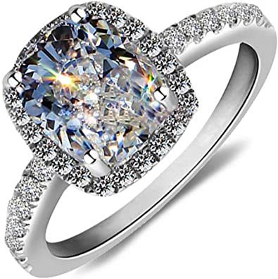 Amazon Com Ring 18k White Gold Gp With Swarovski Crystal Lady
