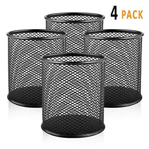 (OFIMASTER 11 Mesh Metal Pen 4 Pack Medium Pencil Cup Holder for Office Desk Organizer)