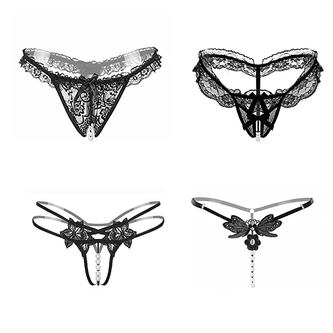 Ropa Interior Sexy Elástico de Encaje Floral Tanga para Mujeres (4 Estilos en Un Paquete