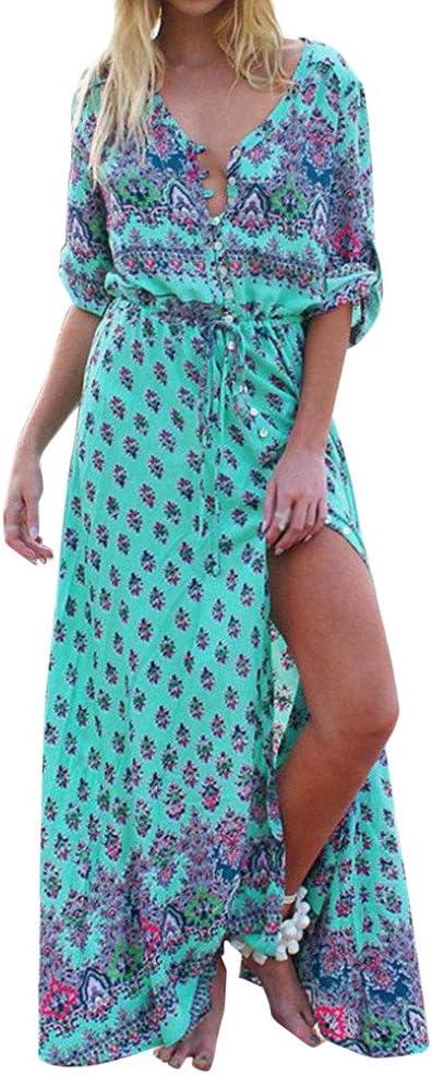 Vestido para mujer Sonnena Maxi manga corta vestido V cuello ...
