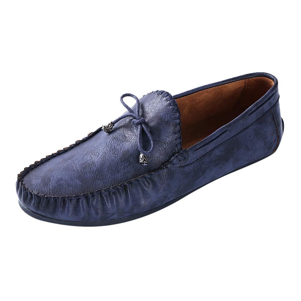 HOSOME Fashion Men's Summer Retro Lazy Shoes Casual Peas Shoes Set Mouth Shoes Men's Business Shoe Blue