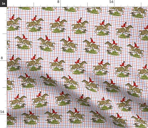 Blue Red Equestrian Horse Plaid Fabric - Tally Ho Check Pony Foxhunt Fox Organic Kni Sfaut15 Print on Fabric by the Yard - Basketweave Cotton Canvas for Upholstery Home Decor Bottomweight Apparel