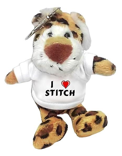 Leopardo de peluche (llavero) con Amo Stitch en la camiseta ...