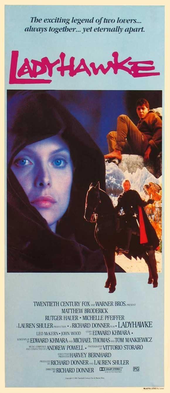Ladyhawke Movie Poster (13 x 30 Inches - 34cm x 77cm) (1985) Australian -(Matthew Broderick)(Rutger Hauer)(Michelle Pfeiffer)(John Wood)(Leo McKern)(Alfred Molina)