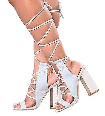 | Jacobie Strappy Lace Up Open Peep Toe Metallic