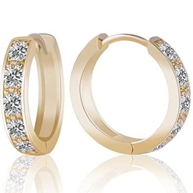 GULICX Ladies Jewellery Clear Zircon Yellow Gold Electroplated Hoop Earrings Diameter 20mm for Women PAhwOr