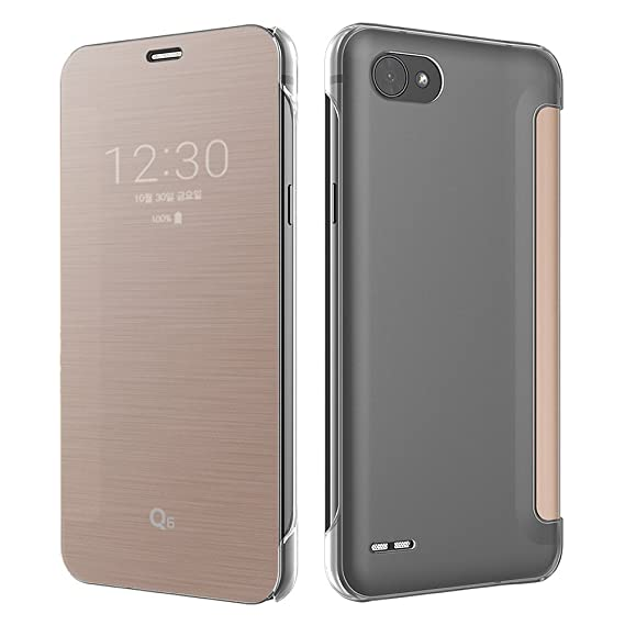 VOIA LG Q6/Q6+/Q6a Flip Premium Quick Cover case (Rose Gold)