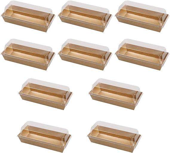 BESTONZON 10 unids Pastel Pan Sartenes Kraft Papel Sandwich Cajas ...
