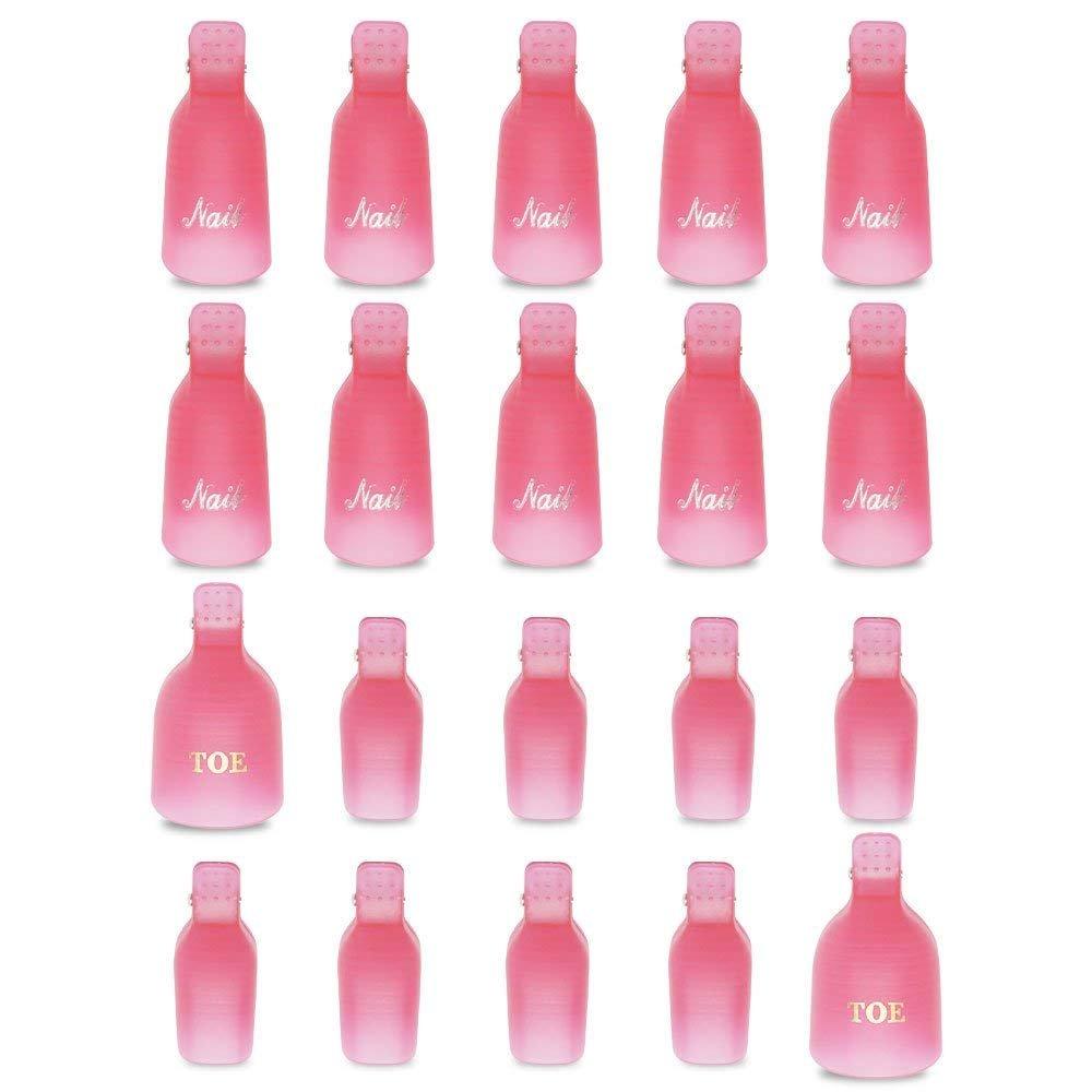 Teenitor Gel Polish Remover, 20 Pieces Reusable Toenail and Finger Nail Gel Nail Polish Remover, Nail Polish Remover Gel- Pink