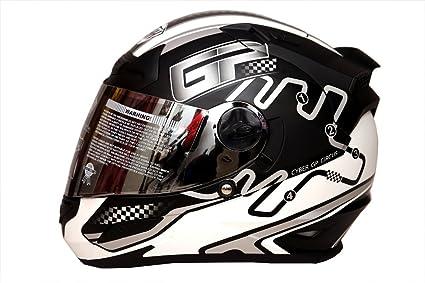 b38c5068 THH - Full Face Helmet - TS-43 Black Silver GP (Matt): Amazon.in ...
