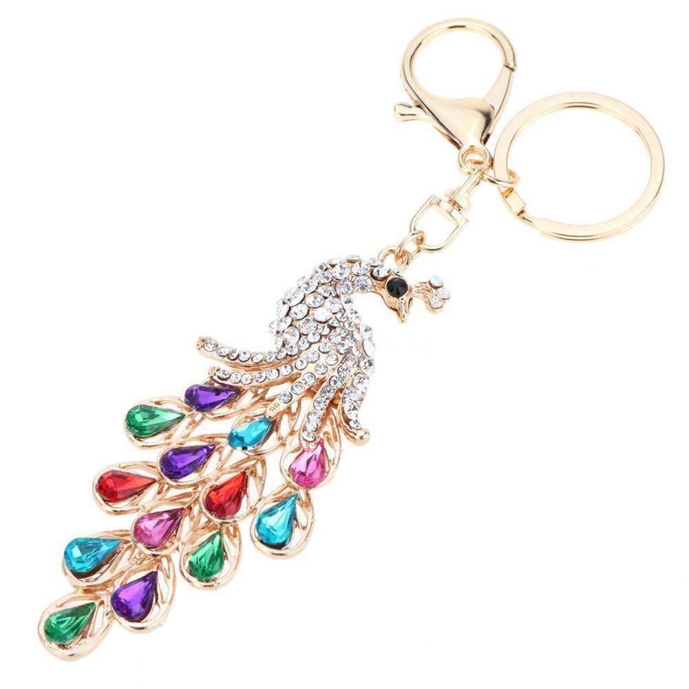 Shiny Rhinestone Peacock Key Chain Bag Purse Charm Pendant Alloy Keychain Gift - Mix Color GlobalDeal