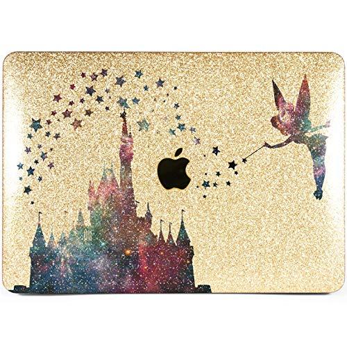 Lex Altern New Glitter MacBook Case Pro 15 inch Mac 13 12 Air 11 2018 Retina Cute Crystal Castle Cover Hard Sparkly Apple Gold Glossy 2017 2016 Disney Tinkerbell Laptop Girly Print Galaxy Stars 2015 ()