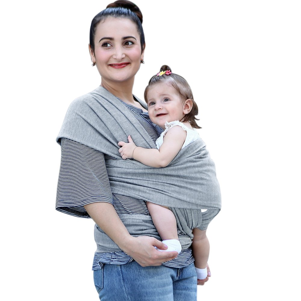 [Porte-Bébé] Aimego 5M Réglable Doux Coton Bio Écharpe de Portage/Écharpe Bébé Élastique pour les Nouveau-nés / Nourrissons avec un Petit Sac