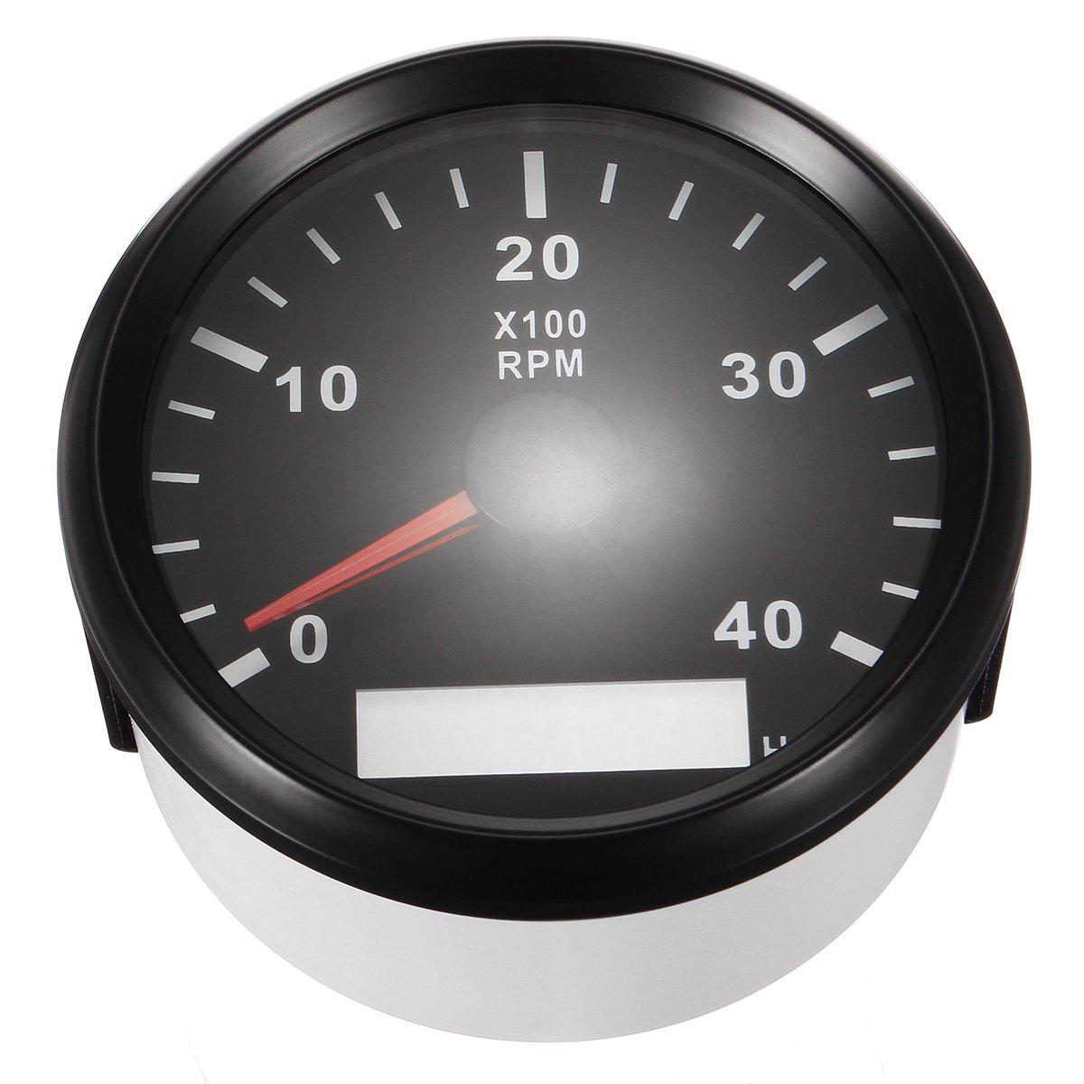 NeDonald 12/24V Marine Tachometer Boat Tacho Meter Gauge LCD Hourmeter 0-4000 RPM 85mm