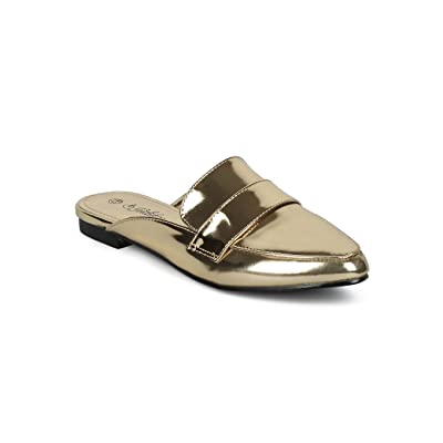 Indulge Nomi-I Mirror Metallic Pointy Toe Slip On Flat Loafer Mule HD01 | Loafers & Slip-Ons
