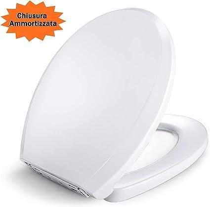 una Facile Installazione e Pulizia Polipropilene in Materiale di PP Copriwater Sedile WC Universale Sedile WC Copriwater Universale D Forma Rotonda Coprivaso Tavoletta Chiusura Lenta