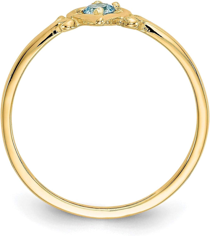 14K Yellow Gold Blue Topaz December Stone Heart Ring Size 7