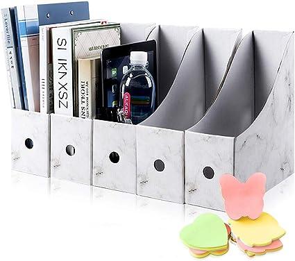 HINATAA Caja de Almacenamiento de la Oficina Revistero,5 PCS Porta Revistas Kraft A4 Organizador de Papel,Organizador de Documentos y Archivos,para Oficina en Casa Caja de Almacenamiento (Blanco): Amazon.es: Oficina y papelería