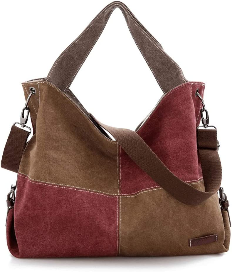 Liweibao Womens Color Matching Canvas Hobos Handle Shoulder Bags Crossbody Tote Purse with Removable Strap for Weekender School Travel Color : 1#, Size : Free Size