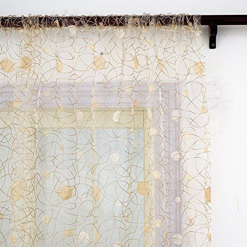 Top Finel Embroidered Window Treatments Panels Sheer Curtains Polka Dot Bird Nest 54 Inch Width