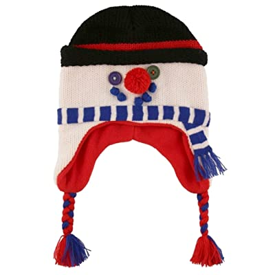 ABG Boys White Holiday Snowman Winter Cap Knit Peruvian Trapper Hat