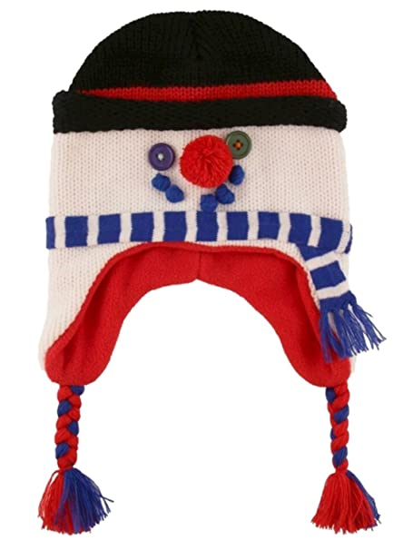 Amazon.com  ABG Boys White Holiday Snowman Winter Cap Knit Peruvian ... c26f6eb97f0