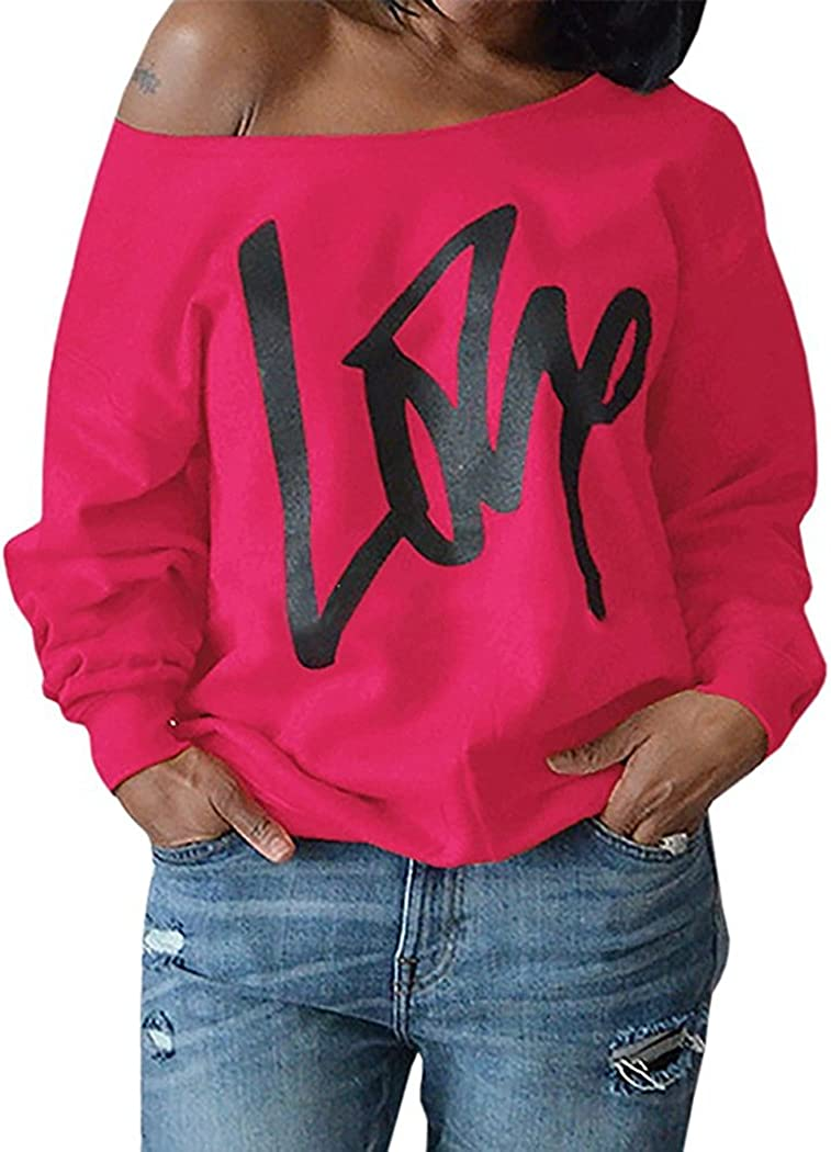 80s Sweatshirts and Sweaters Womens Plus Size Off Shoulder Pullover Sweatshirt Love Letter Printed Tops Shirts $17.99 AT vintagedancer.com