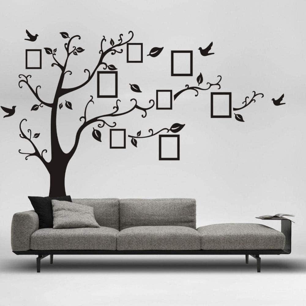 Pegatinas de pared,Marco de fotos de familia numerosa Calcomanías de árboles y pájaros Home Art Poster Murals Used In Living Room Bedroom Children s Office