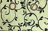JN Luxury Printed Curtain Set. 2 Piece Chocolate Brown/black Grommets Panels/drapes (Sage)