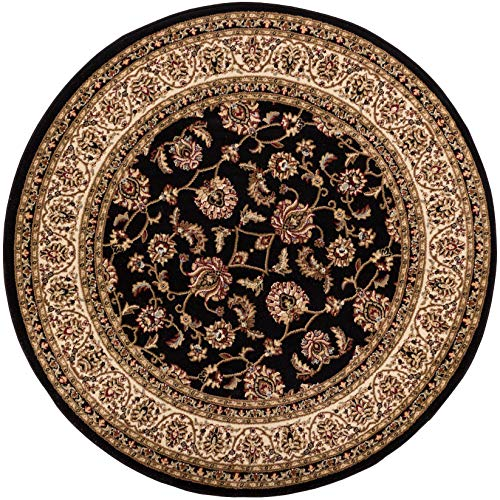 Well Woven Barclay Sarouk Black Traditional Area Rug 7'10'' Round