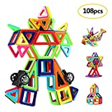 Innoo Tech Magnetic Building Blocks | 108 Pcs Magnet Blocks Set | Kid Magnetic Toys Construction Stacking Kits | Building Tiles Blocks Creativity Educational | Instruction Booklet Included