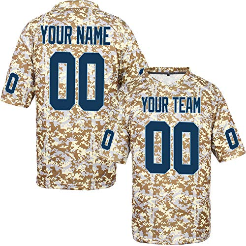(Custom Football Jerseys Game for Men Camo Salute to Service Big and Tall,Navy-Light Blue Size 5XL)