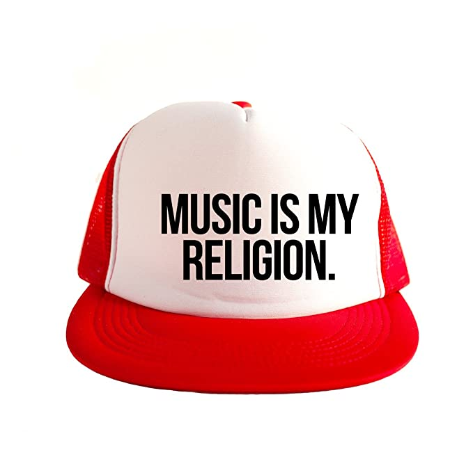 Amazon.com  Music Is My Religion Cool Swag Hip Hop Print 80s Style ... 79d6cdf0ed78