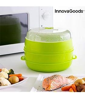 InnovaGoods Vaporera Doble para Microondas, PVC, Beige, 20x20x17 ...