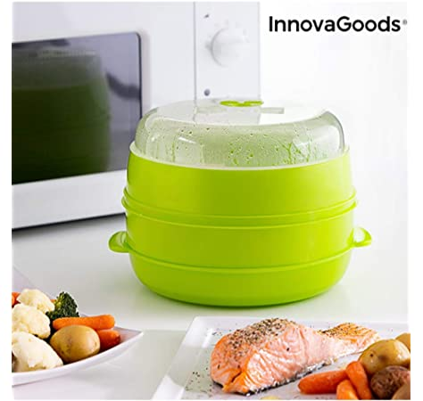 MovilCom® - Olla a vapor 2 niveles Microvap | cocinar al vapor | vaporera microondas - verde: Amazon.es: Hogar