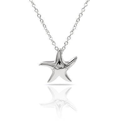 Amazon.com: Collar con colgante de estrella de mar de plata ...
