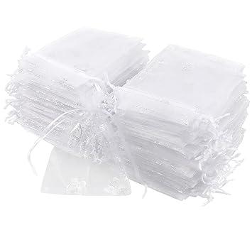 CLE DE TOUS - 100pcs Bolsa de Organza para decorar regalo de boda bautizo Bolsitas de organza Blanca con mariposa plateado Wedding Favour Gift ...