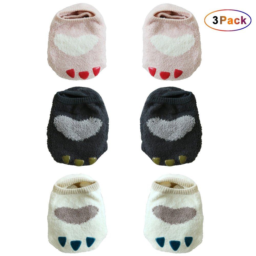 3 Pairs Baby Toddler Coral Velvet Socks Baby Cartoon Claw Non Slip Ankle Boat Socks