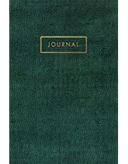 Journal: Emerald Green Snake, Reptile, Crocodile Leather Style - Gold Lettering - Softcover | 120 Blank Lined 6x9 College Ruled Pages