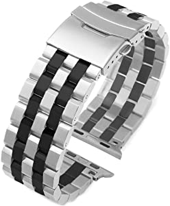 Fashion Two Tone Design Silver-Black Stainless Steel Watch Band Compatible for Apple 42mm/44mm Silver Matte Metal Watch Strap Replacement Wristband for Series 6 SE 5 4 3 2 1