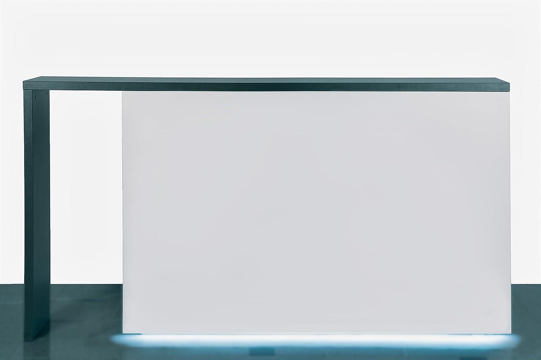 Empfangstheke inkl. LED-Beleuchtung am Sockel | 6 Farben auswählbar | Verkaufstheke Infotheke Büromöbel Ladeneinrichtung (anthrazit)