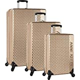 Anne Klein 3 Piece Hardside Spinner Luggage Suitcase Set, Tan