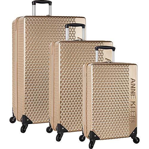 Anne Klein 3 Piece Hardside Spinner Luggage Suitcase Set, Tan