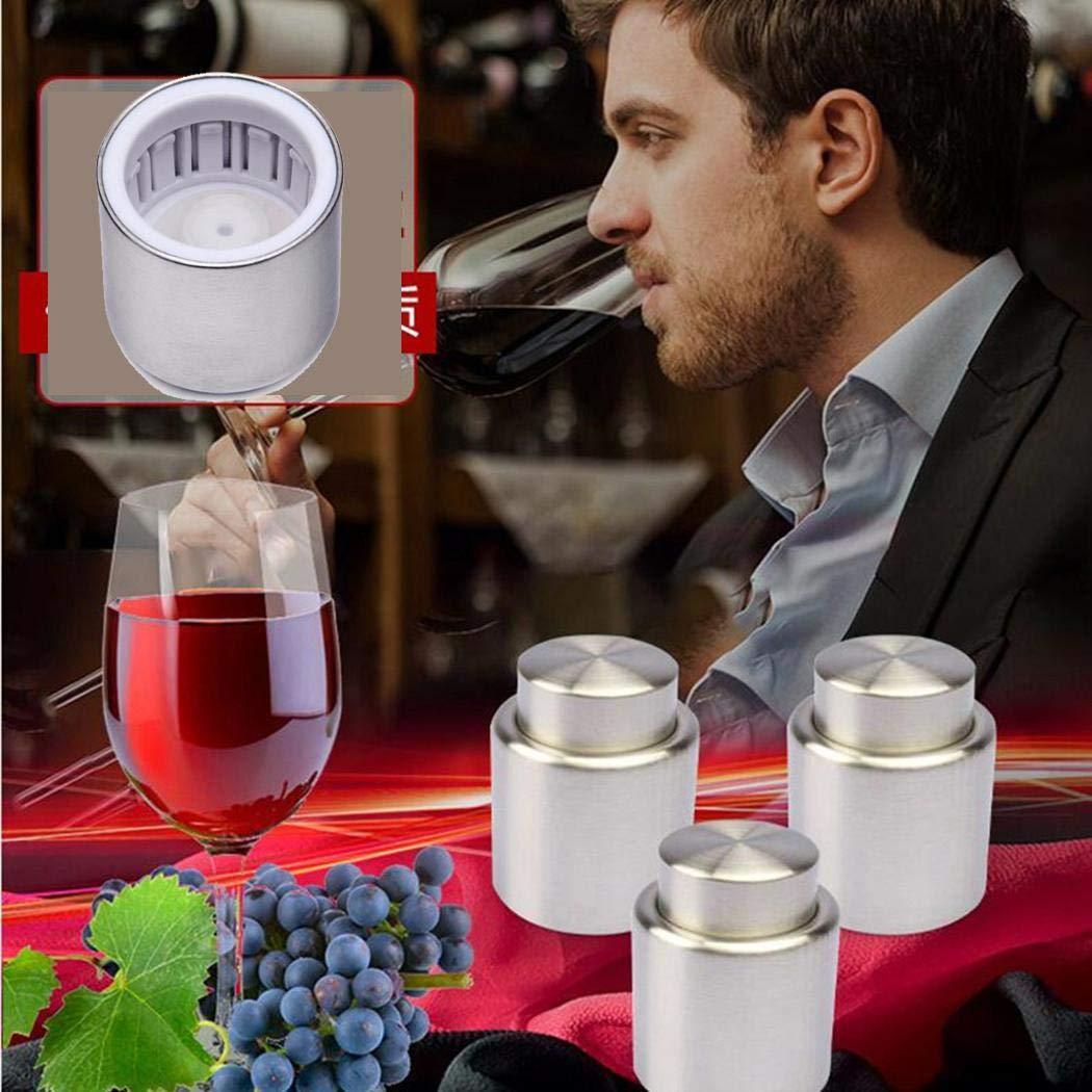 Zuionk Multifunktionale Edelstahlpresse Wine Stopper Beer Champagne Vacuum Plug Korken